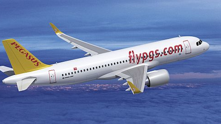Turkish carrier Pegasus Airlines orders as many as 100 Airbus A320 fuel-efficient single-aisle passenger jets