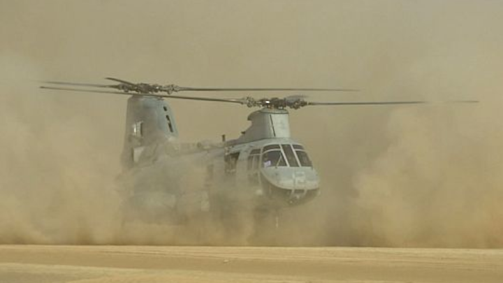 Rockwell Collins, Boeing, and Sierra Nevada to develop synthetic-vision to help land helicopters in choking dust