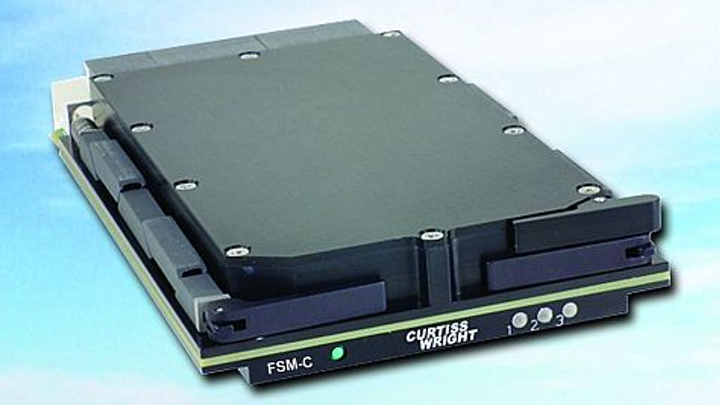 Rugged SATA solid-state drive data storage module for avionics, aerospace, and defense offered by Curtiss-Wright