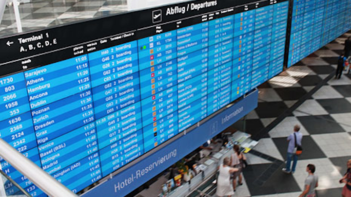Munich Airport flight information display system powered by Matrox graphics cards