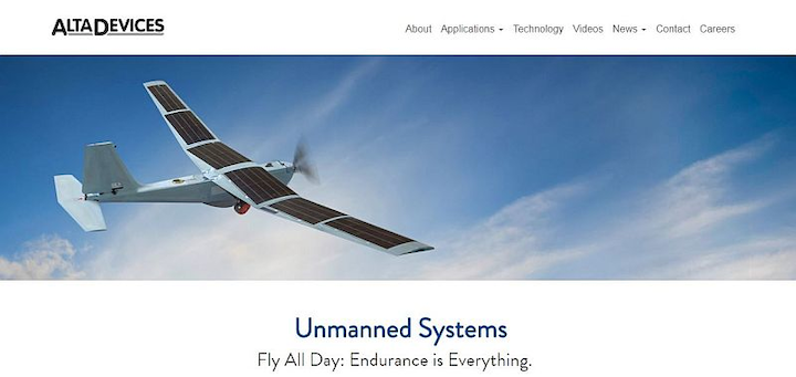 Alta Devices thin, efficient solar cell attracts aircraft designers