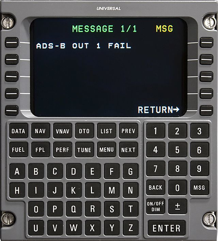 Universal Avionics FMS software offers ADS-B Out failure messaging, required by FAA