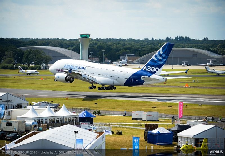 Airbus commercial jet airliners, test aircraft on static and flying display at FIA