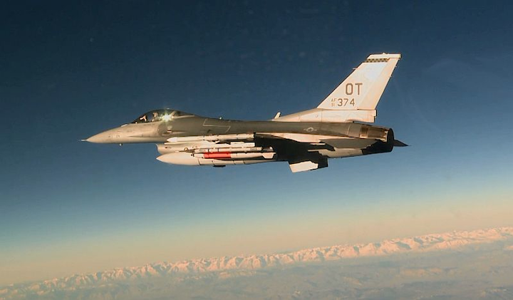Inert nuclear gravity bomb tested on F-16C A U.S. Air Force F-16C dropped an inert B61-12 during a development flight test by the 422nd Flight Test and Evaluation Squadron at Nellis Air Force Base, Nevada, on 14 March 2017. The test is part of a life-extension program for the bomb to improve its safety, security, and reliability. (U.S. Air Force photo/Staff Sgt. Brandi Hansen)