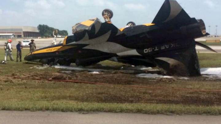 T-50 supersonic jet skids off runway, flips over, catches fire during Singapore Airshow aerial display
