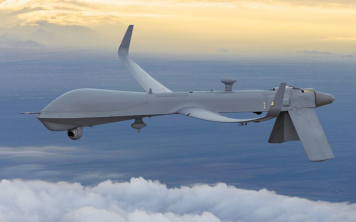 UAE Armed Forces Predator RQ-1E ISR unmanned aircraft soars at airport