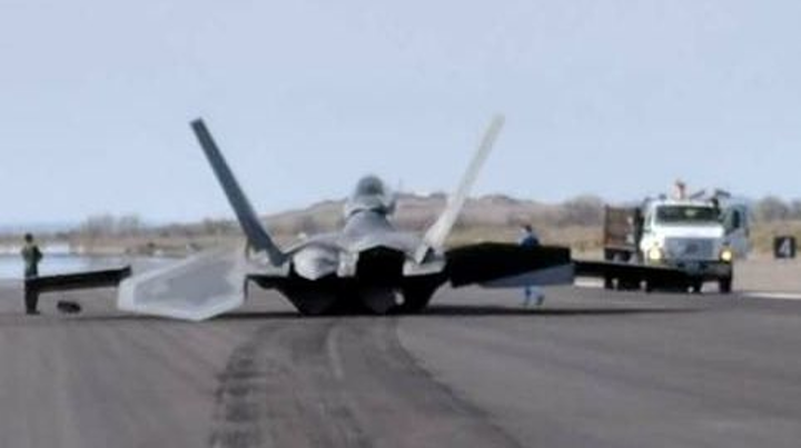 F-22A Raptor military jet suffers damage after slamming onto runway, skidding to a stop