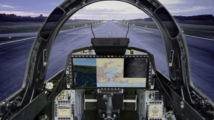 Saab Gripen E simulator with AEL Sistemas wide-area display boosts situational awareness, accuracy, safety