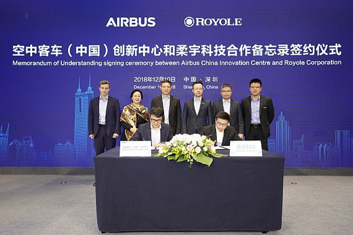 Royole and Airbus enter partnership on flexible electronic technologies for aircraft applications