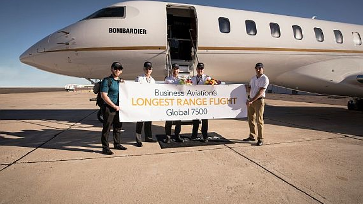 Bombardier's Global 7500 business jet makes record-setting run