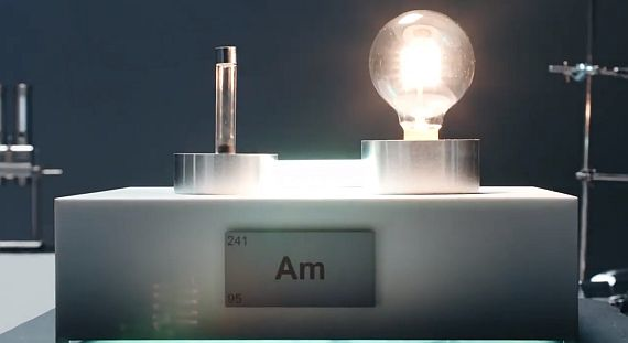 Electricity drawn from Americium, which could prove useful as a power source for a 'space battery'