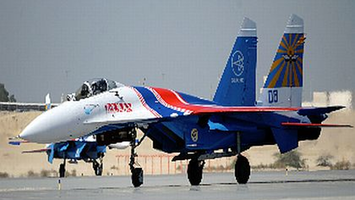 Su-27 jet fighters from the Russian Knights flight demonstration team to appear at Farnborough this week