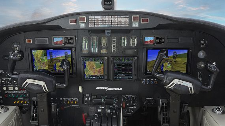 LCD avionics flight display for retrofits in Cessna Citation business jets introduced by Garmin