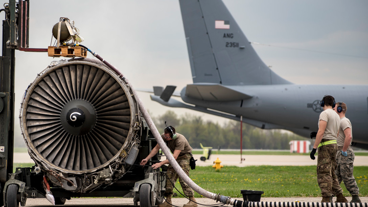 Airmen from the 121st Maintenance Group prepare a CFM-56 turbofan engine for shipment April 23, 2019, at Rickenbacker Air National Guard Base, Ohio. The 121st Air Refueling Wing's KC-135 Stratotankers have four of these engines, each capable of producing 21,634 pounds of thrust.