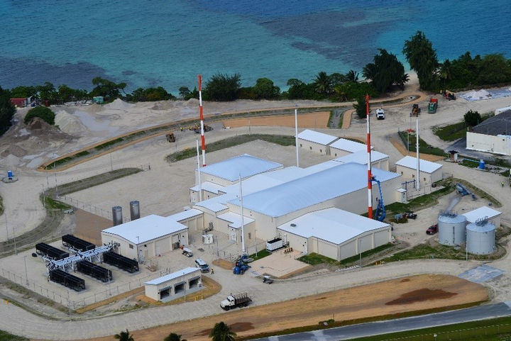 Aerial view of Space Fence facility in Kwajalein Atoll.