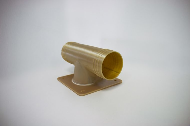 Final, flight-approved, 3D printed ducting for air conditioners. 3D printed in ULTEM™ 9085 resin on the Fortus 450mc.