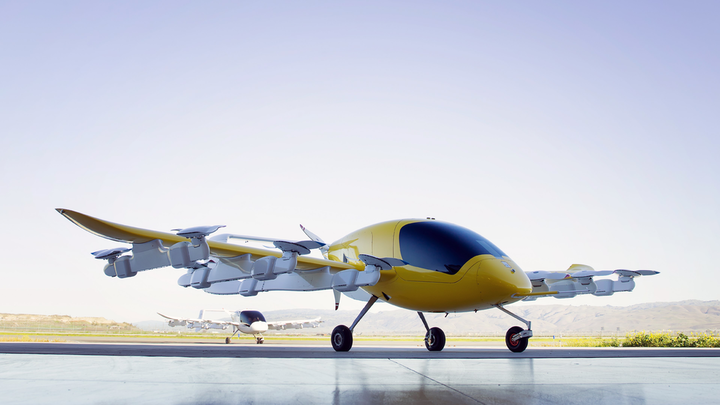 Cora, an air taxi designed and built by Kitty Hawk Corporation of Mountain View, California, combines electric power, self-piloting software and vertical take-off.