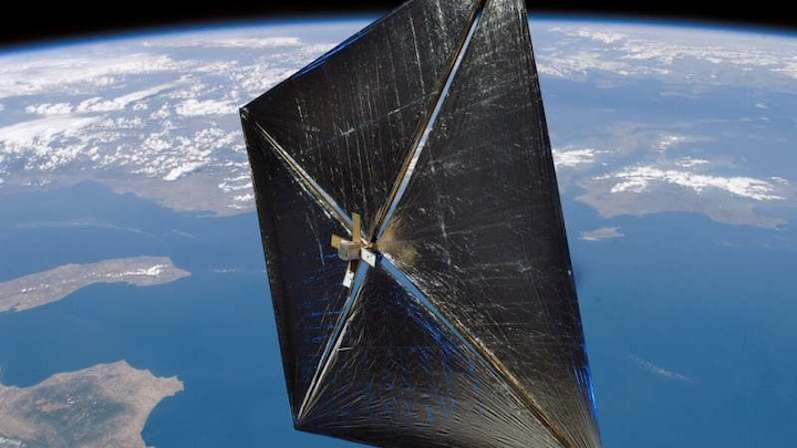 A rendering of a NanoSail D satellite with a solar sail.