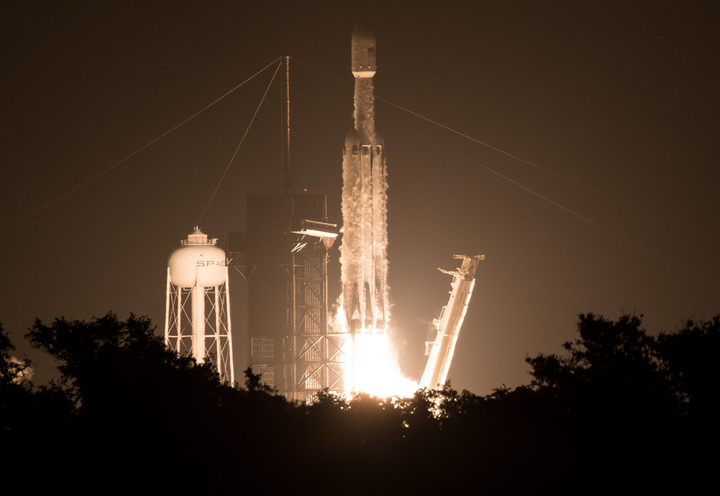SpaceX Falcon Heavy rocket carrying 24 satellites as part of the Department of Defense's Space Test Program-2 (STP-2) mission launches from Launch Complex 39A, Tuesday, June 25, 2019 at NASA's Kennedy Space Center in Florida. Four NASA technology and science payloads that will study non-toxic spacecraft fuel, deep space navigation, 'bubbles' in the electrically-charged layers of Earth's upper atmosphere, and radiation protection for satellites are among the two dozen satellites put into orbit.