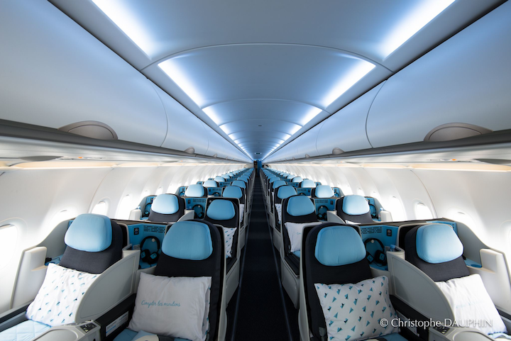 La Compagnie's A321 is set-up in an all business class configuration with 76 full-flat seats.