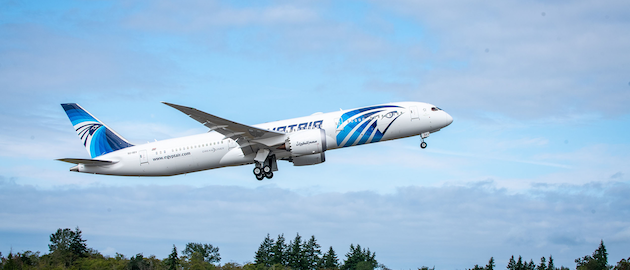 New Boeing 787 Dreamliner for EGYPTAIR flies home on sustainable bio