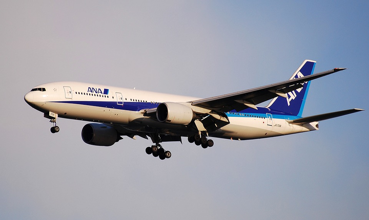 A 777 owned by All Nippon Airways (ANA) has its landing gear down as it comes in for a landing. Boeing will outfit a 777 as its 'ecoDemonstrator' for more than 50 technologies.