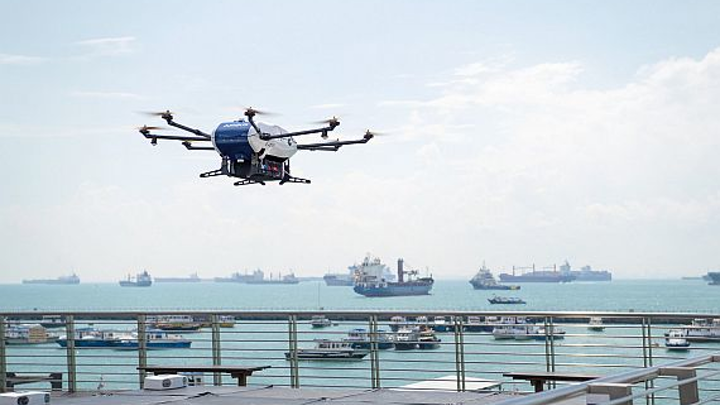 Airbus has begun shore-to-ship trials in Singapore with its Skyways parcel delivery drone. UPS has formed a subsidiary and applied for FAA certification to operate commercial drone flights of its own for delivering parcels.