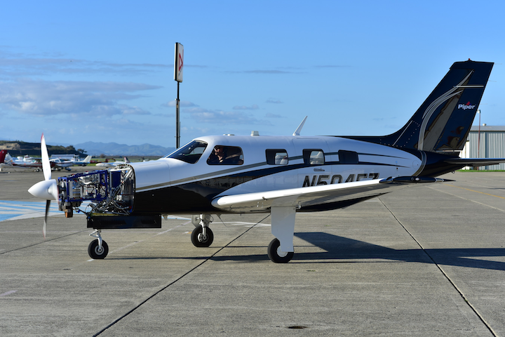 ZeroAvia prototype is shown here powering a 6-seat Piper M-Class aircraft, already in flight tests from February 2019.