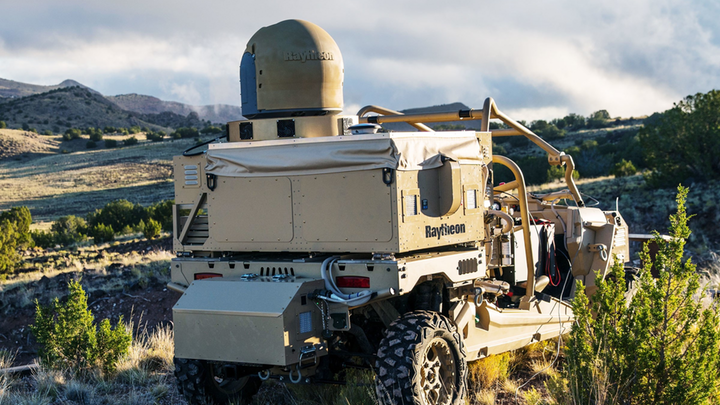 Raytheon's mobile high energy laser looks out into a wide-open sky. The company's advanced high power microwave and high energy laser engaged and defeated dozens of unmanned aerial system targets in a recent U.S. Air Force demonstration.
