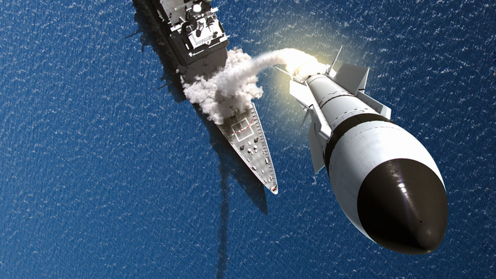 Artist rendering of a Raytheon SM-3 interceptor launching from a warship.