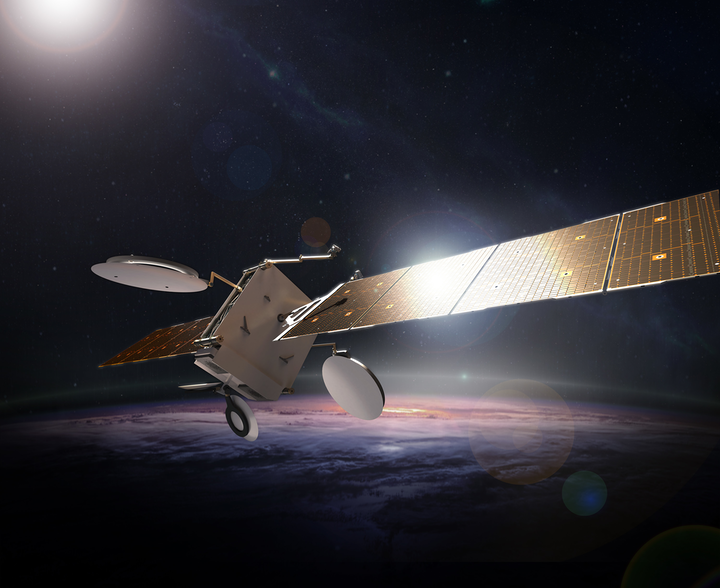 Boeing is unveiling its new 702X family of software-defined satellites. All 702X variants, such as the small geosynchronous orbit model shown here, will provide satellite operators the flexibility to reallocate bandwidth through software updates in real time to meet changes in market demand.