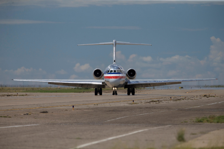 An American Airlines MD-80 taxis on the runway at Roswell. American flew most of its remaining Super 80s to New Mexico, ending an era of flight for the carrier.