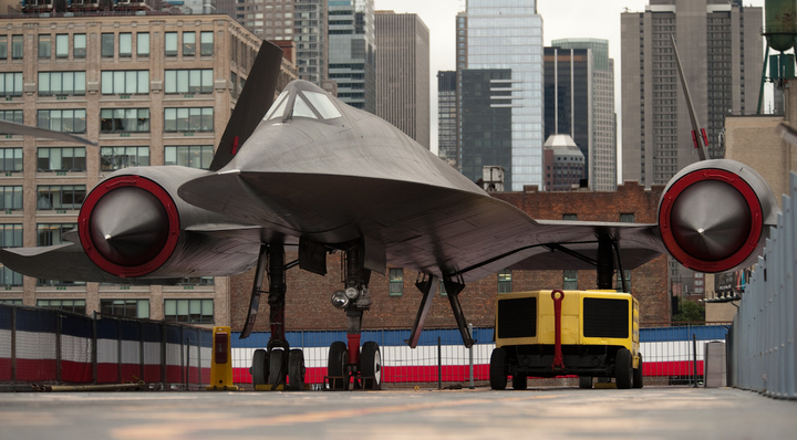 At the Air Force Week New York City proclamation ceremony, an A-12 reconnaissance aircraft, the predecessor to the Air Force's SR-71, is on display on the USS Intrepid Sea, Air and Space Museum Aug. 24, 2010.
